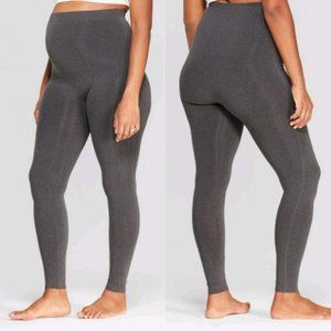 Isabel Maternity Gray Seamless Belly Leggings L/XL